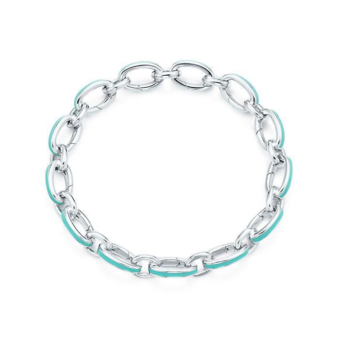 475e359d1baf4 Tiffany Blue® clasping link bracelet in silver with enamel finish ...