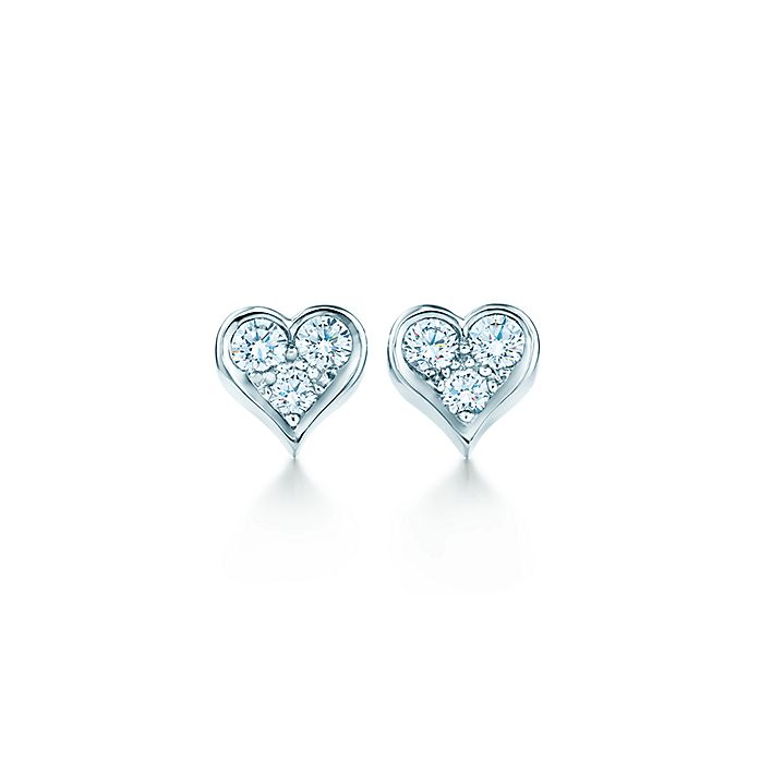 34a5403ad Tiffany Hearts™ earrings with diamonds in platinum. | Tiffany & Co.