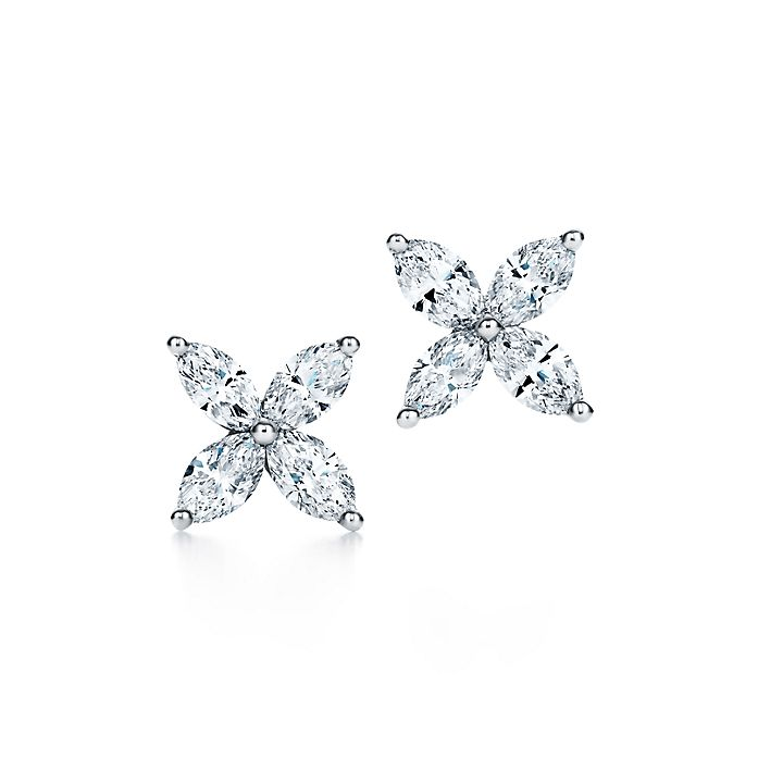5857677c5 Tiffany Victoria® earrings in platinum with diamonds, medium ...