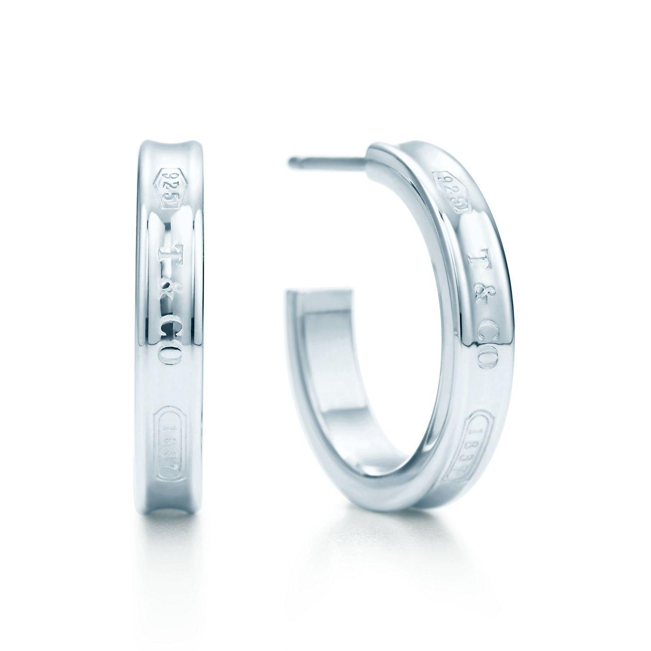 Tiffany 1837 narrow hoop earrings in sterling silver, small Tiffany & Co.