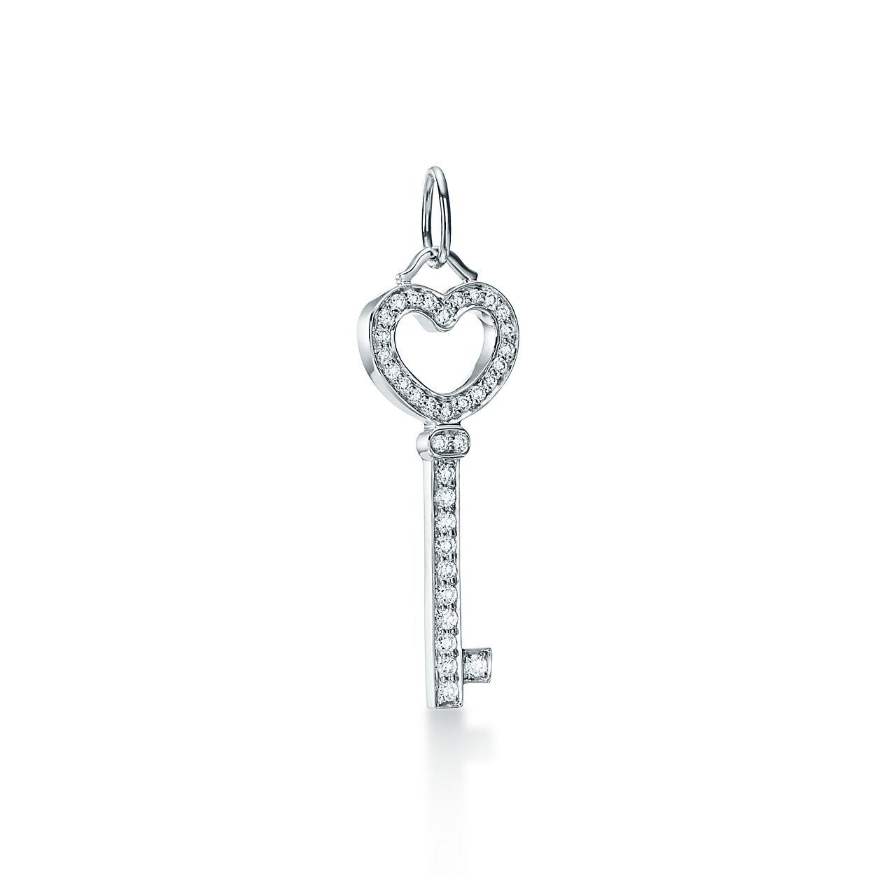 Tiffany keys heart key pendant in platinum with diamonds mini tiffany keysheart key pendant mozeypictures Image collections