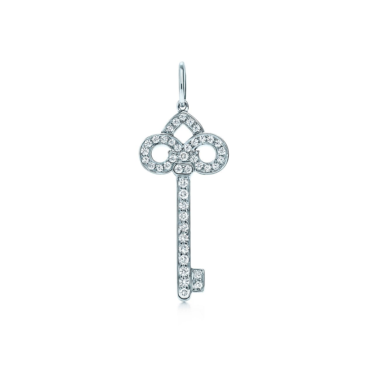 Tiffany keys fleur de lis key pendant in platinum with diamonds tiffany keysfleur de lis key pendant aloadofball Images