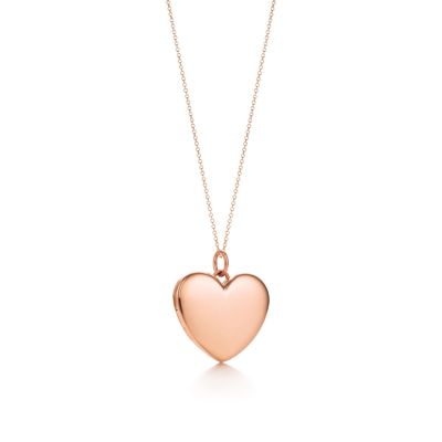 Heart locket pendant in 18k rose gold large Tiffany Co