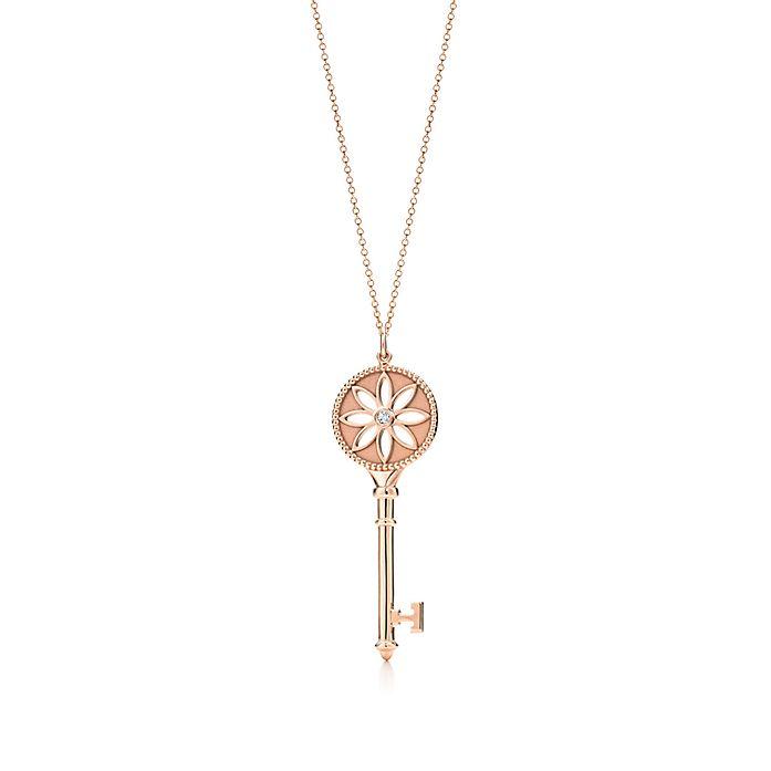 40dfea0fb Tiffany Keys daisy key pendant in 18k rose gold with a diamond on a ...