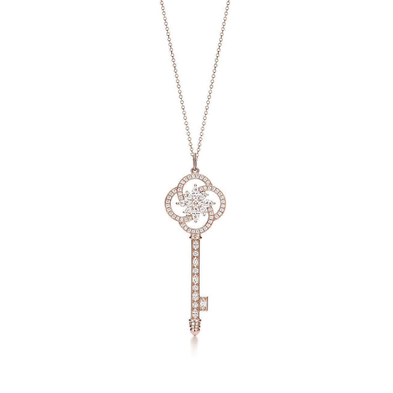 Tiffany Keys floral key pendant in 18k white gold with diamonds Tiffany & Co.