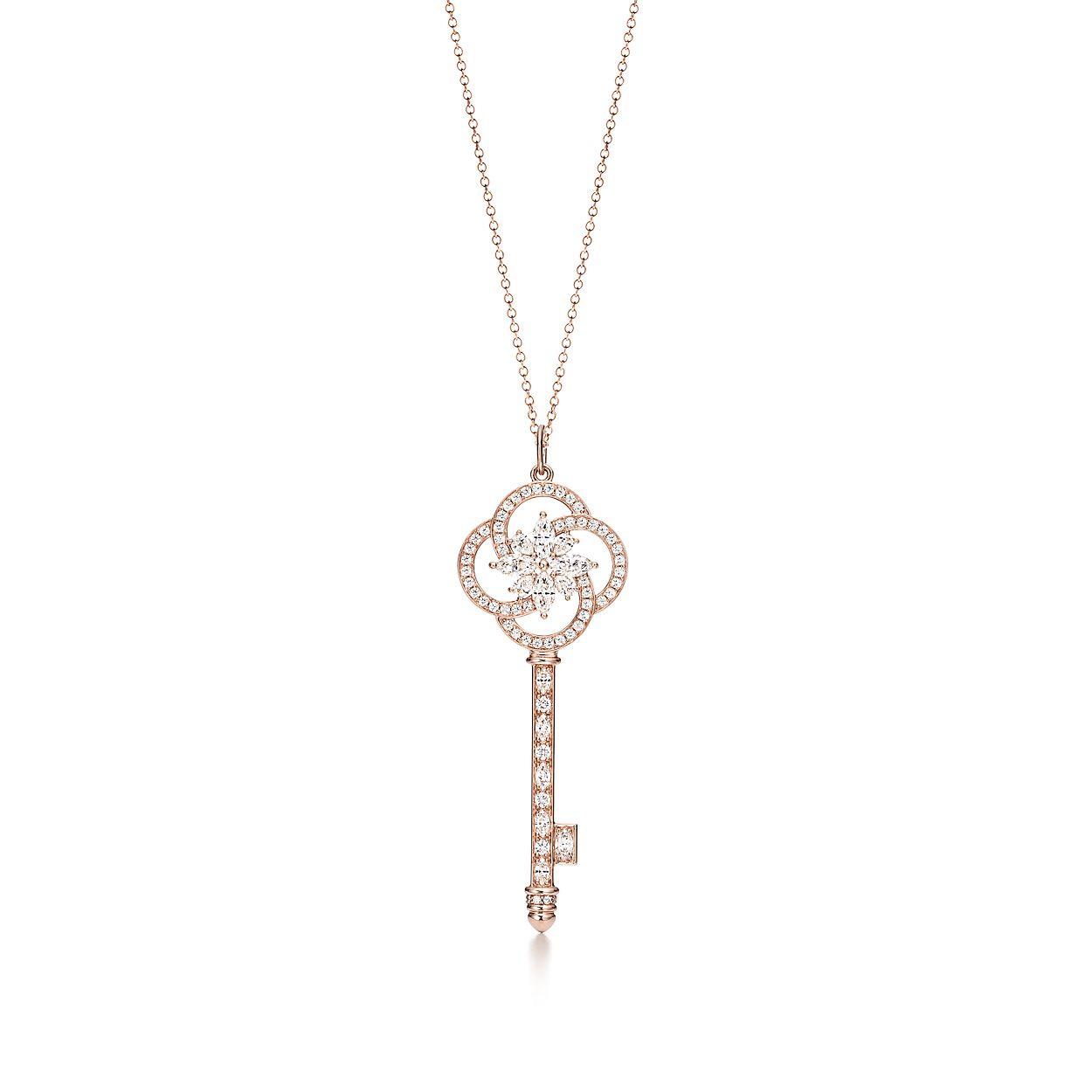 Tiffany Keys floral key pendant in 18k white gold with diamonds Tiffany & Co. 9CmQMY