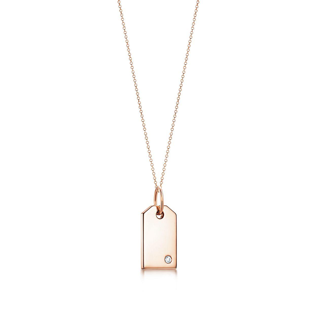 Tag Charmes Tiffany En Or Rose 18 Carats Avec Un Diamant, Mini Tiffany & Co.