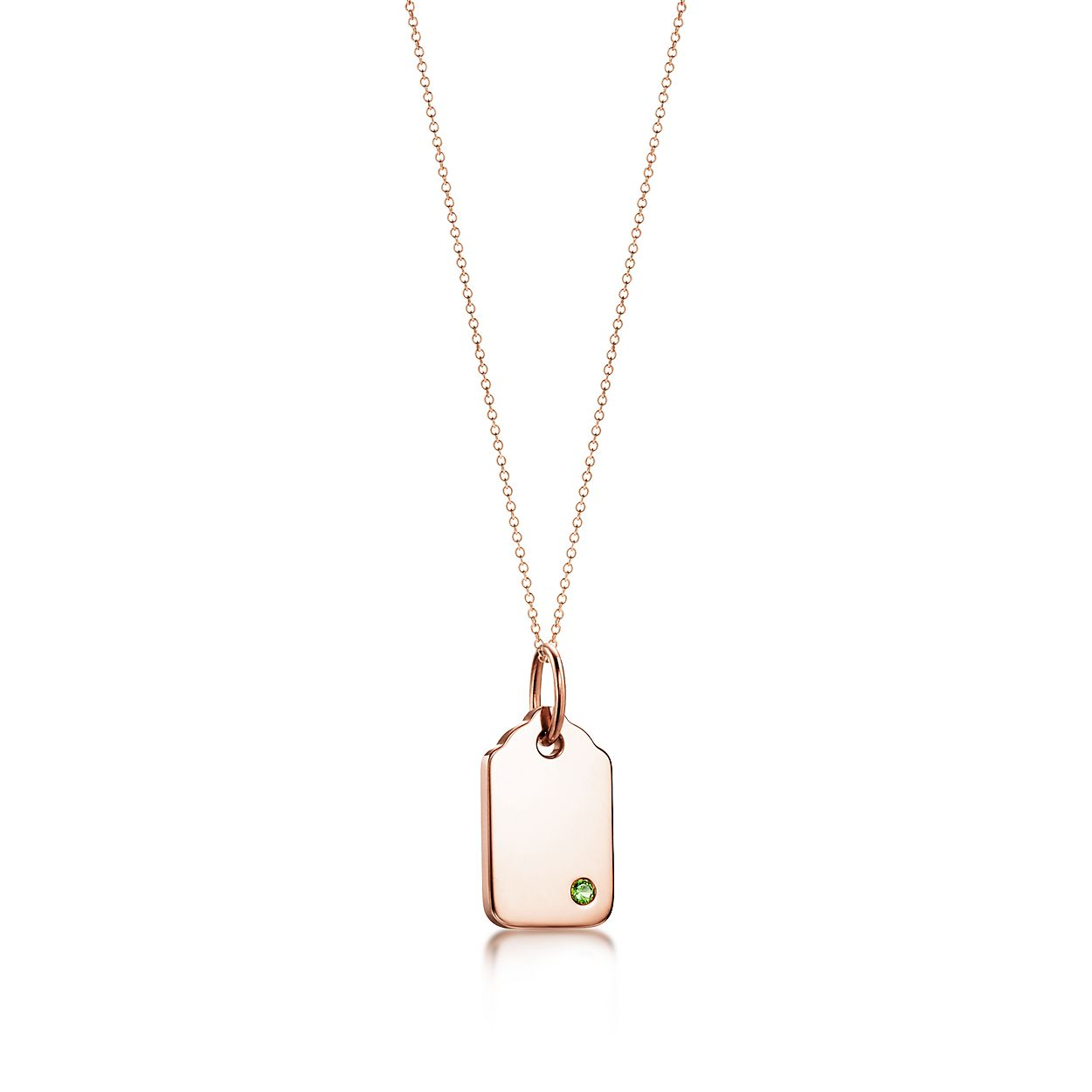 Plaque arrondie Tiffany Charms en or rose 18 carats avec tsavorite ... adbbc1406730