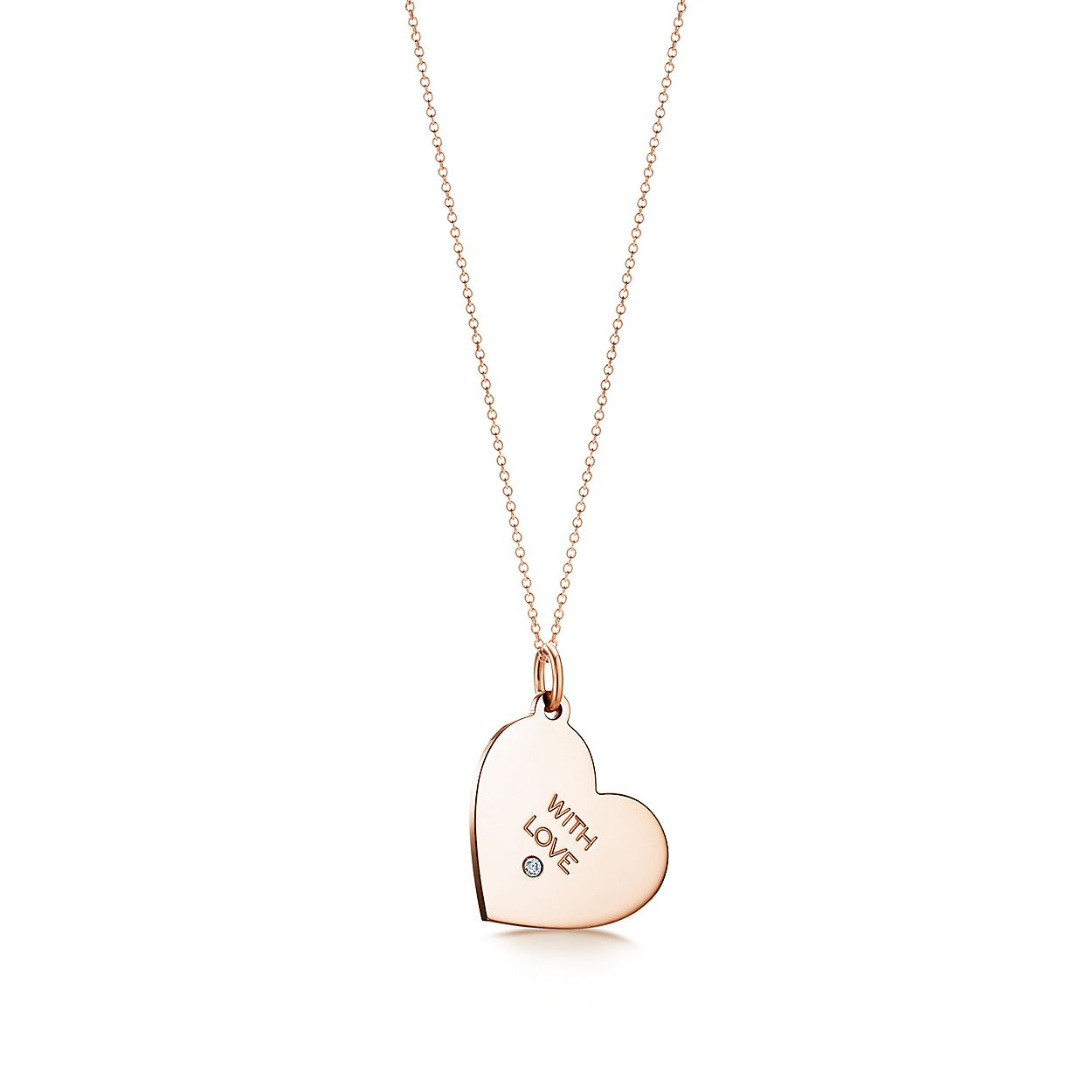 Tiffany Charms With Love tag in 18k rose gold with a diamond, medium Tiffany & Co.