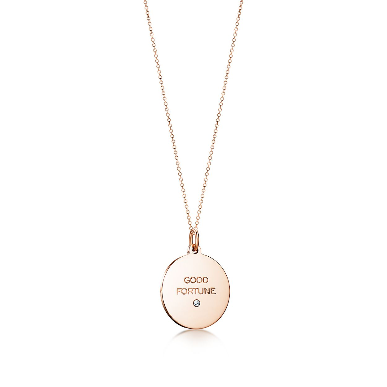 Tiffany Charms Good Fortune tag in 18k rose gold with a diamond, medium Tiffany & Co.