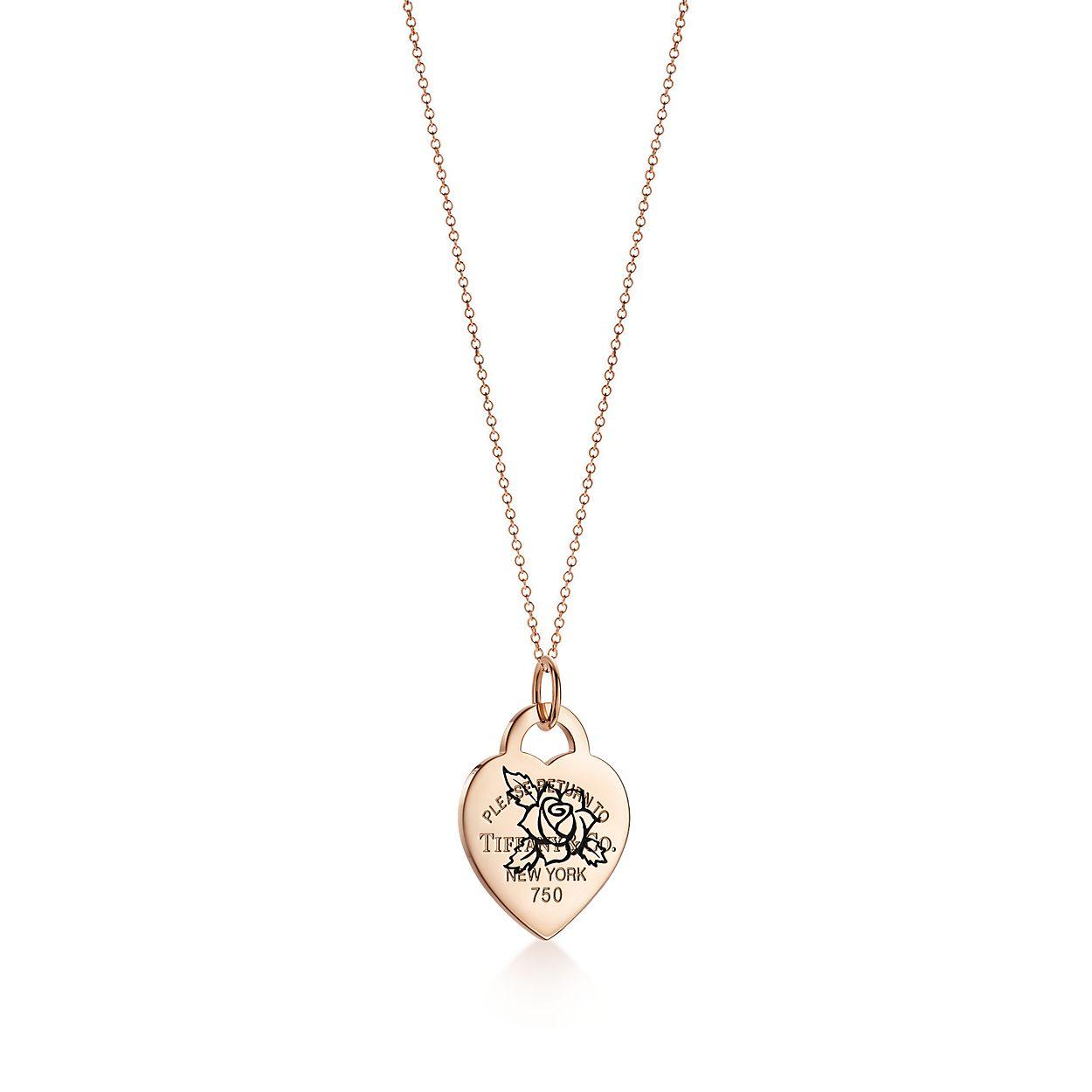 Plaque en cœur Rose gravée Return to Tiffany(MC) en or rose 18 ... 2cda1327c16c