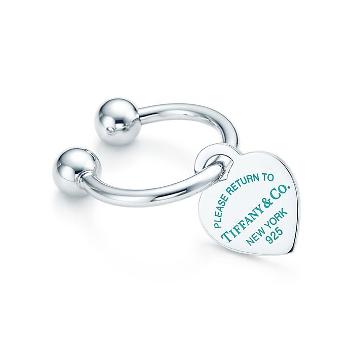 5afe745f8 Return to Tiffany® heart tag key ring in sterling silver with enamel ...