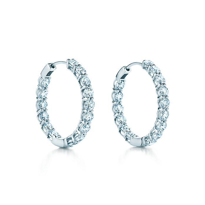 ba06f2ffc Hoop earrings in platinum with diamonds, medium. | Tiffany & Co.