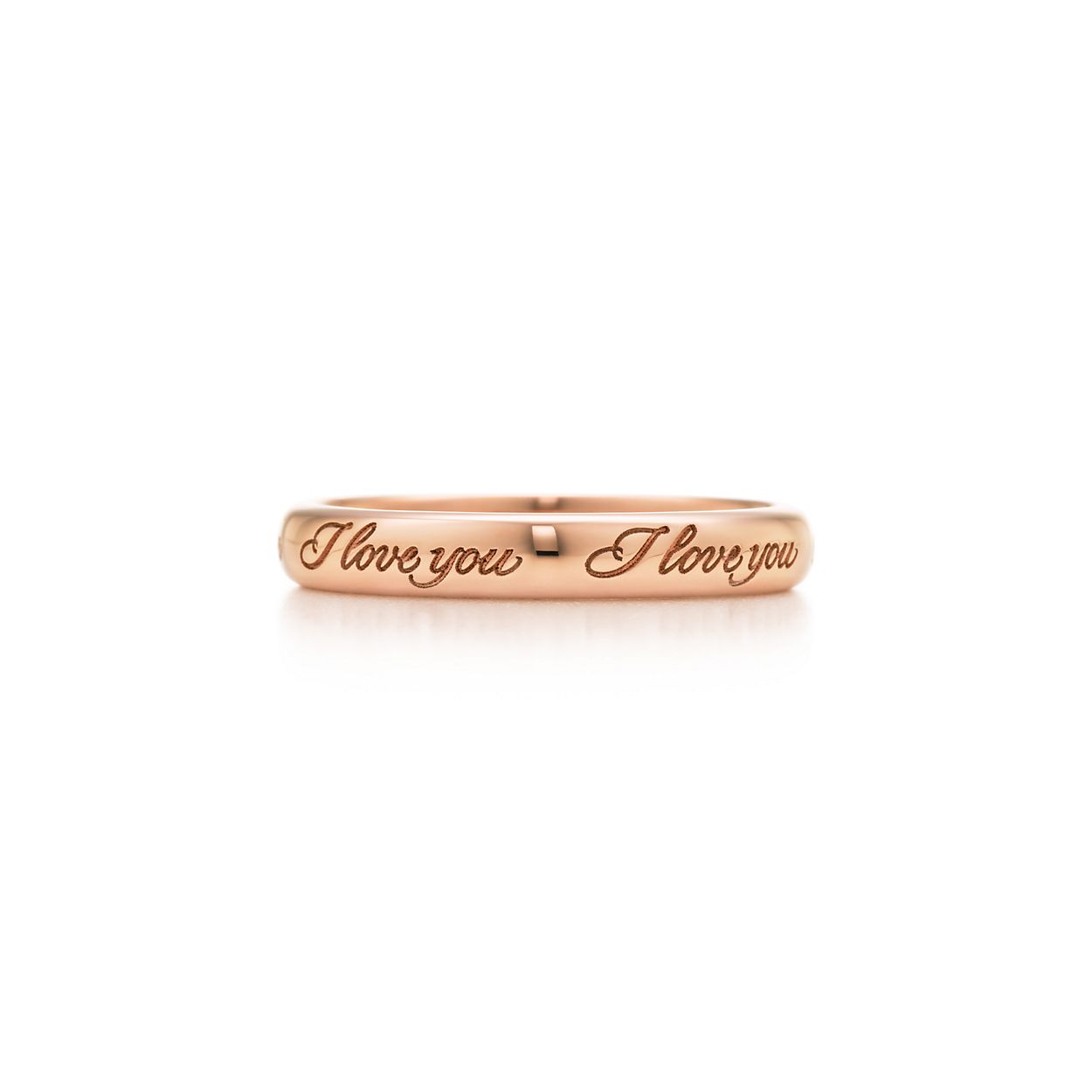 Tiffany Notes I Love You band ring in 18k rose gold, 3 mm wide - Size 8 1/2 Tiffany & Co.