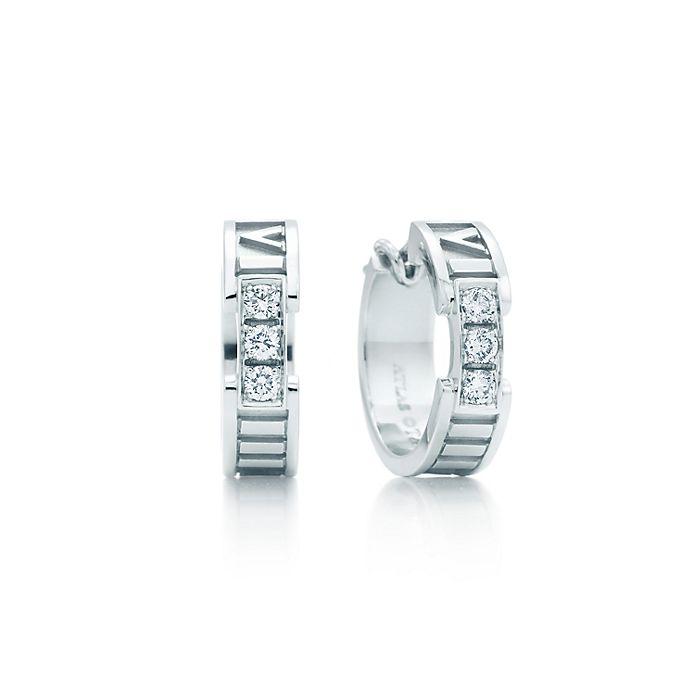 7c1a3294e Atlas® hoop earrings in 18k white gold with diamonds.   Tiffany & Co.