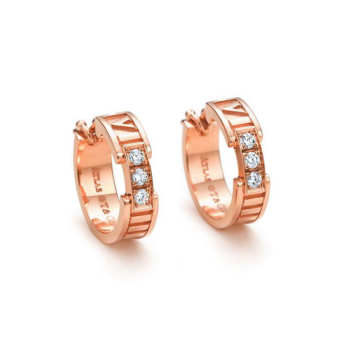 82aa3bc39 Atlas® hoop earrings in 18k rose gold with diamonds.   Tiffany & Co.