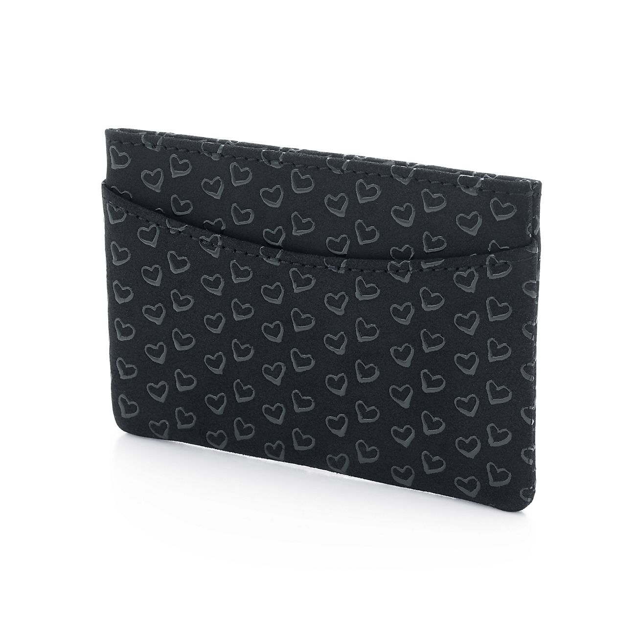 Elsa Peretti card case in black leather with lacquered Open Hearts Tiffany & Co.