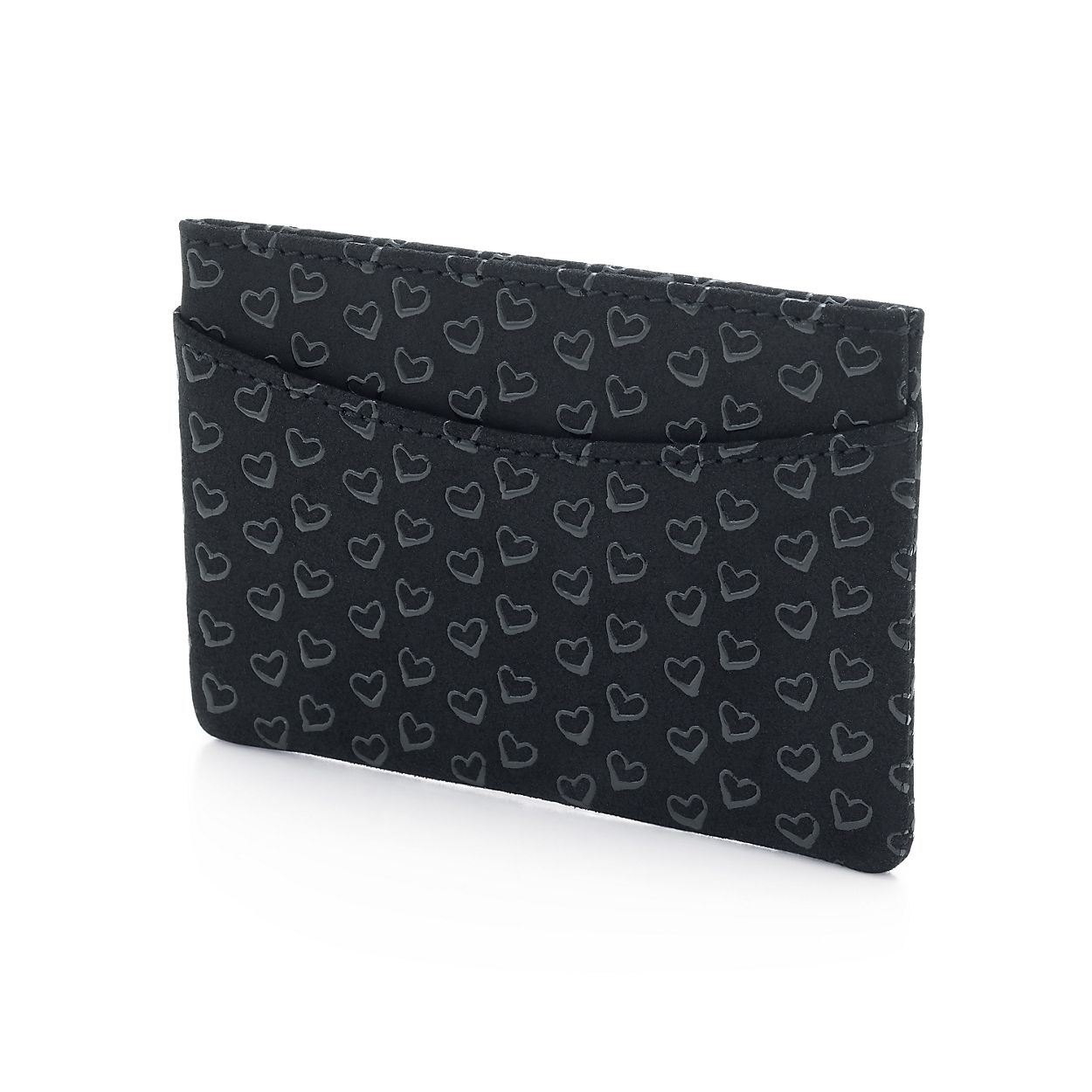 Elsa Peretti card case in black leather with lacquered Open Hearts Tiffany & Co. pZCzme7