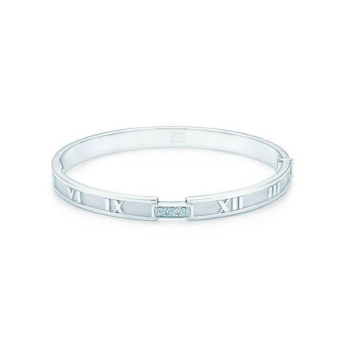 7362f8c72 Atlas® closed hinged bangle in 18k white gold with diamonds, medium ...