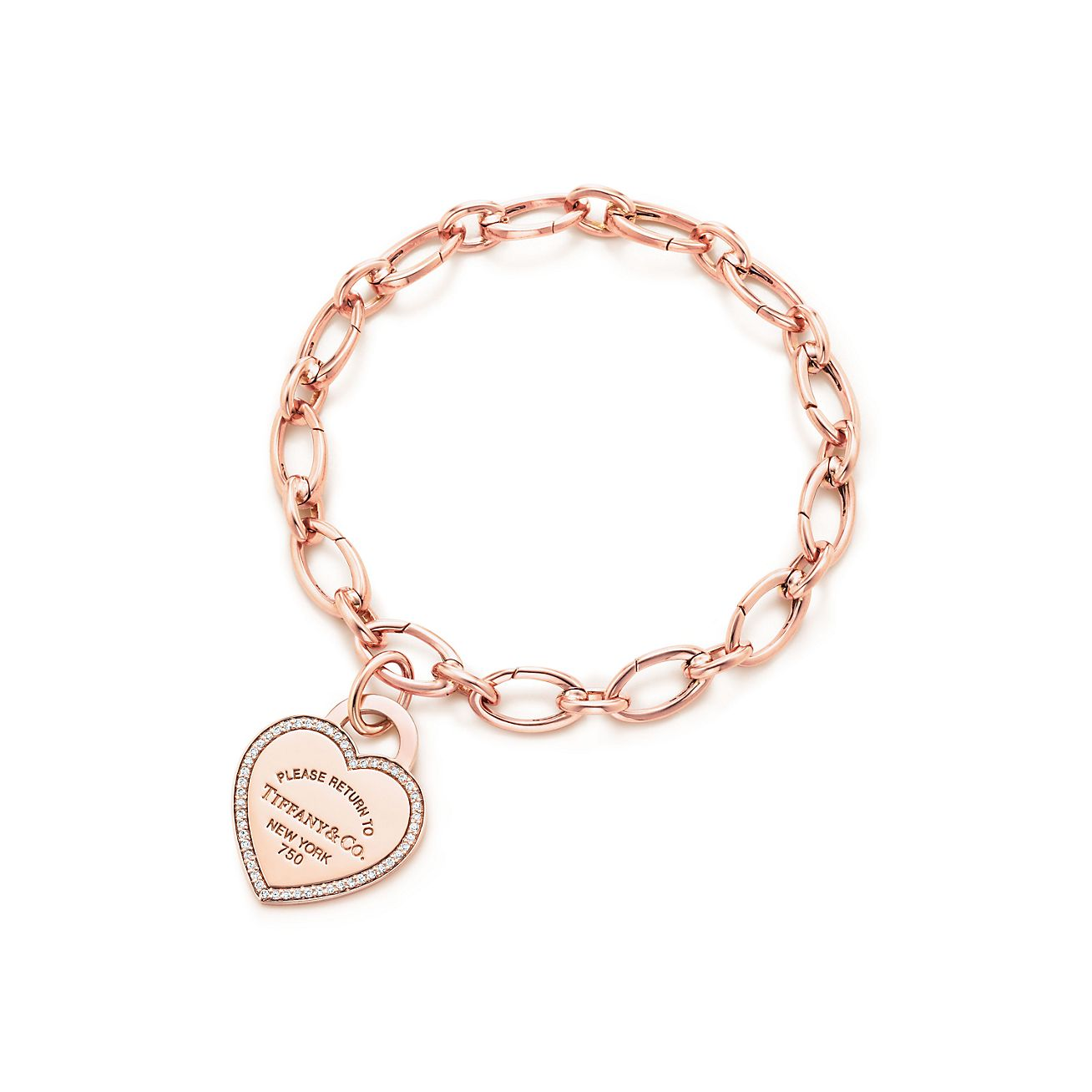 Tiffany Heart Bracelet >> Return To Tiffany Heart Tag Charm In 18k Rose Gold And Diamonds On