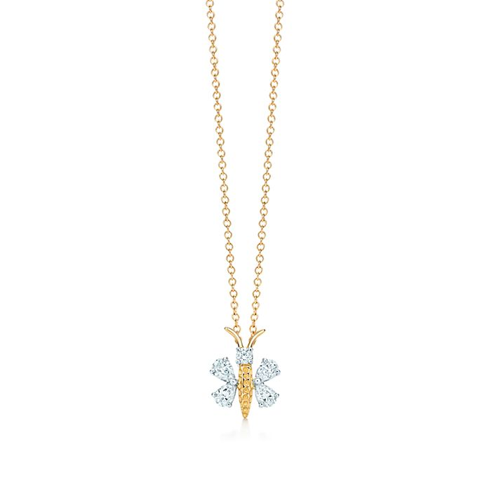 8ccfe5712a2a Tiffany   Co. Schlumberger® butterfly pendant in gold with diamonds ...