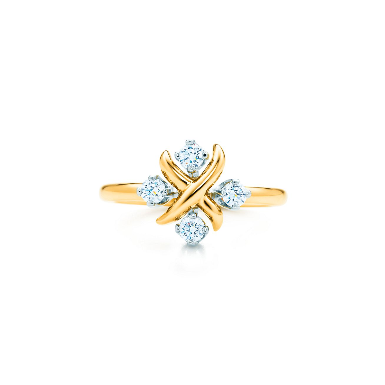 Tiffany Co Schlumberger Lynn Ring In 18k Gold With Diamonds In