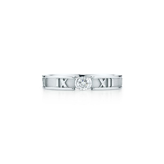 46e7510bf Atlas Ring In 18k White Gold With A Diamond 3 Mm Wide Tiffany Co. Tiffany  And Co Sterling Silver ...