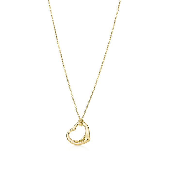 b5a7a92b7 Elsa Peretti® Open Heart pendant in 18k gold with yellow diamonds ...