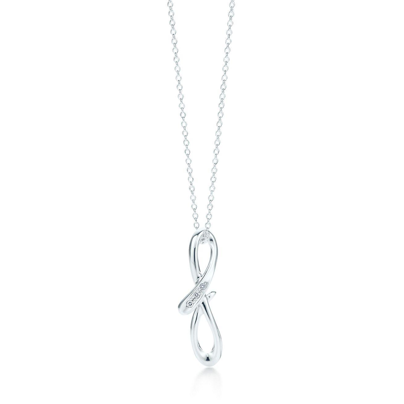 Elsa Pendentif Peretti Alphabet En Argent Avec Des Lettres De Diamants Az Disponible - Taille F Tiffany & Co. 4c3H6io