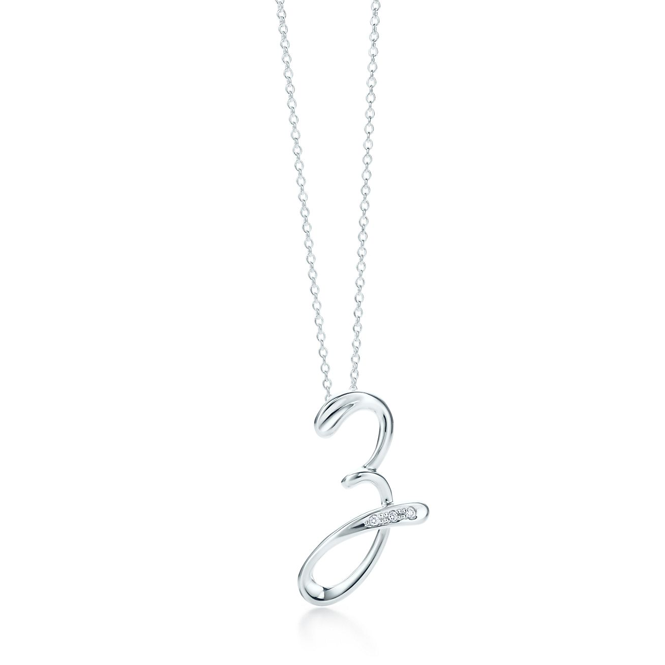 Elsa Peretti Alphabet pendant in silver with diamonds Letters A-Z available - Size Z Tiffany & Co.