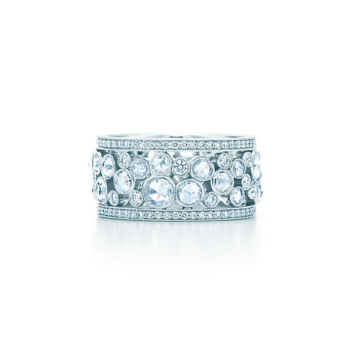 4de1eac53 Tiffany Cobblestone band ring in platinum with diamonds, 10 mm wide ...