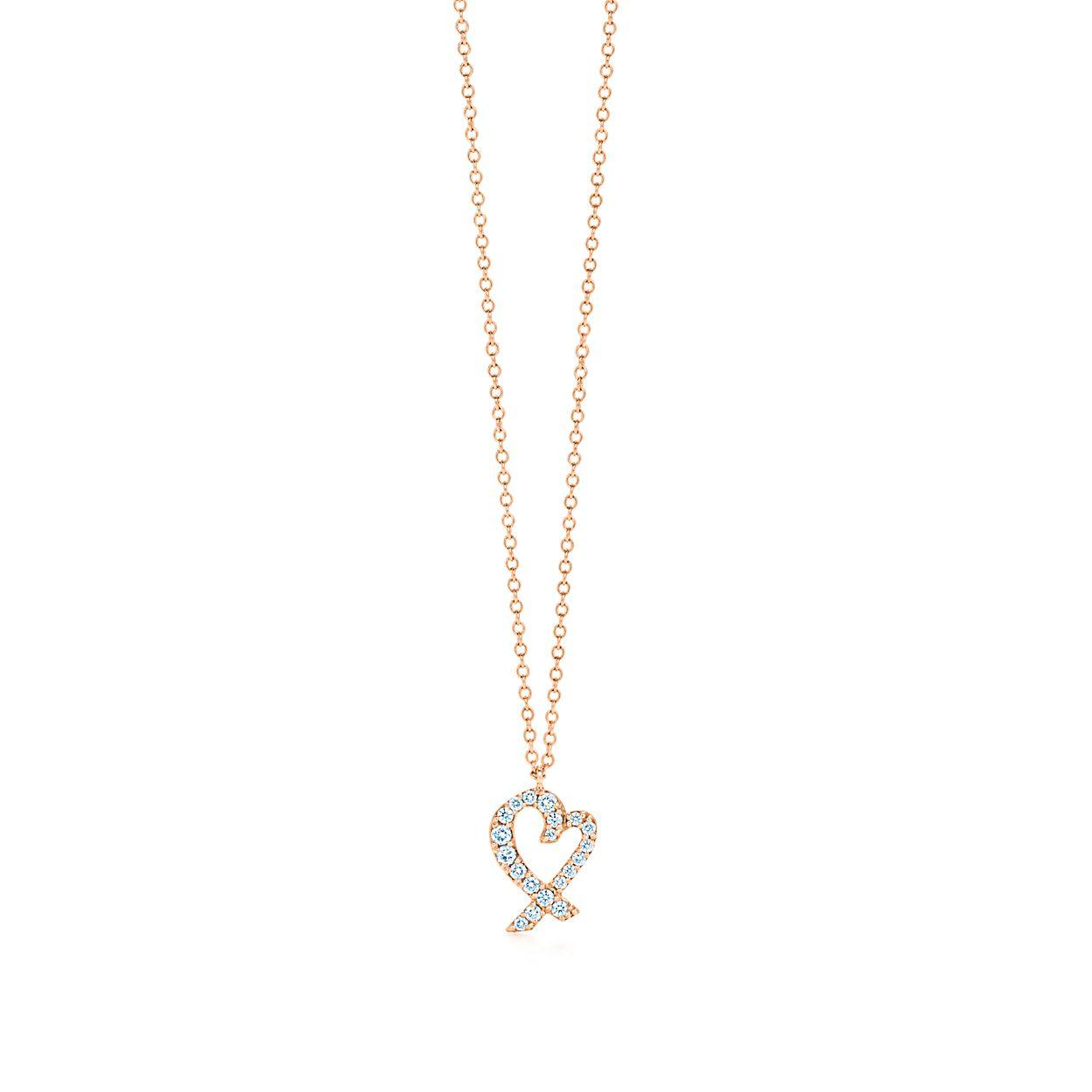 Paloma picasso loving heart pendant in 18k rose gold with diamonds paloma picassoloving heart pendant aloadofball Gallery