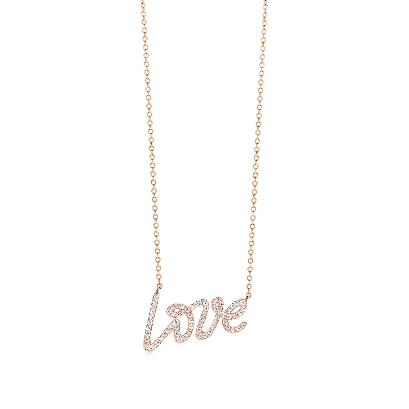 Palomas graffiti 18k rose gold love pendant tiffany co palomas graffitilove pendant aloadofball
