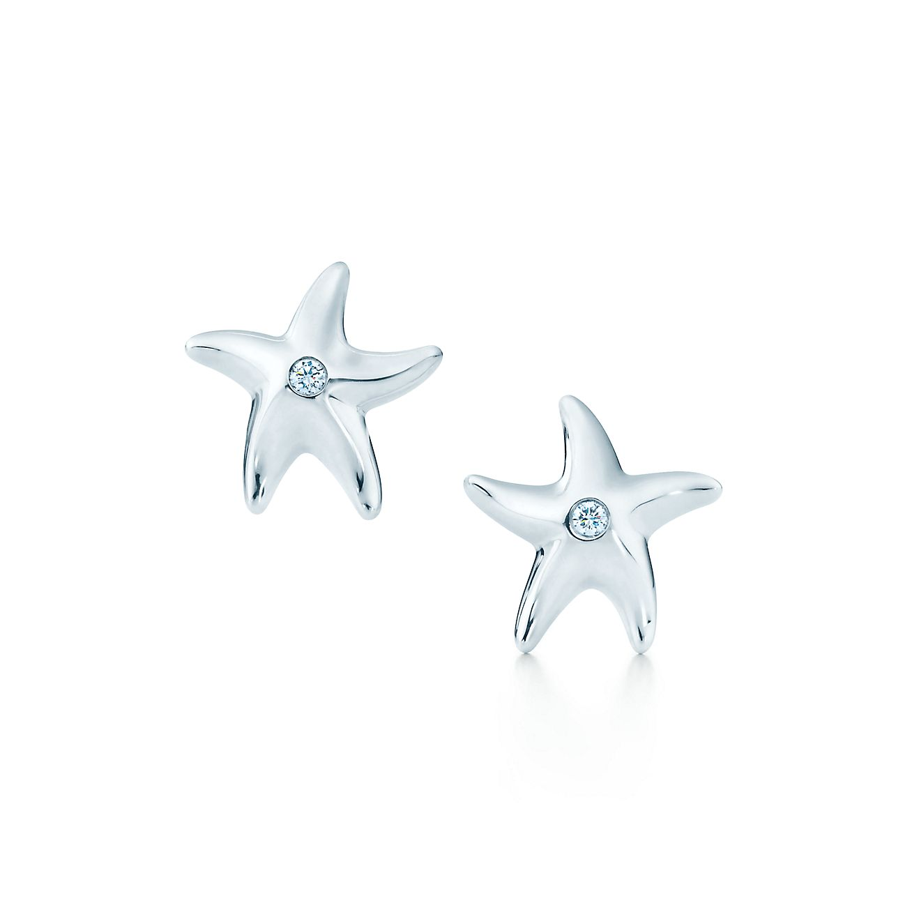 Elsa Peretti Starfish earrings with diamonds in sterling silver Tiffany & Co.
