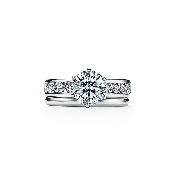 e10e348b1c8b7 The Tiffany® Setting Engagement Ring with a Channel-set Diamond Band in  Platinum