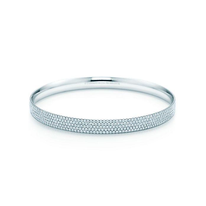1c089f405 Tiffany Metro Five Row Bangle In 18k White Gold With Diamonds