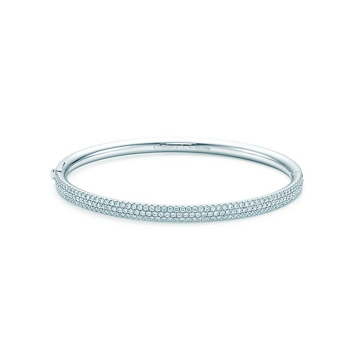 b67afdbc5 Tiffany Metro three-row hinged bangle in 18k white gold with ...