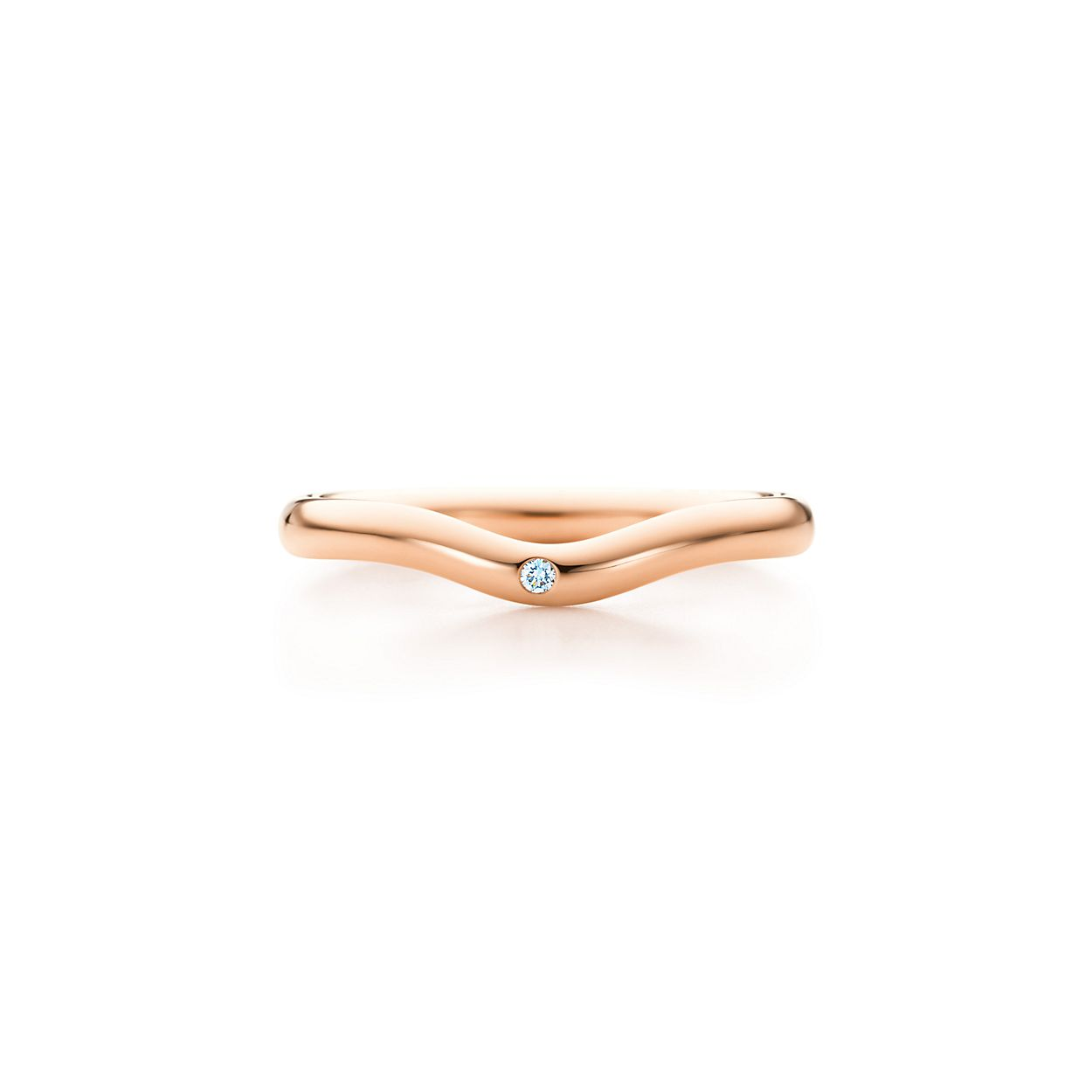 Elsa Peretti® wedding band ring with a diamond in 18k rose gold, 2 ...