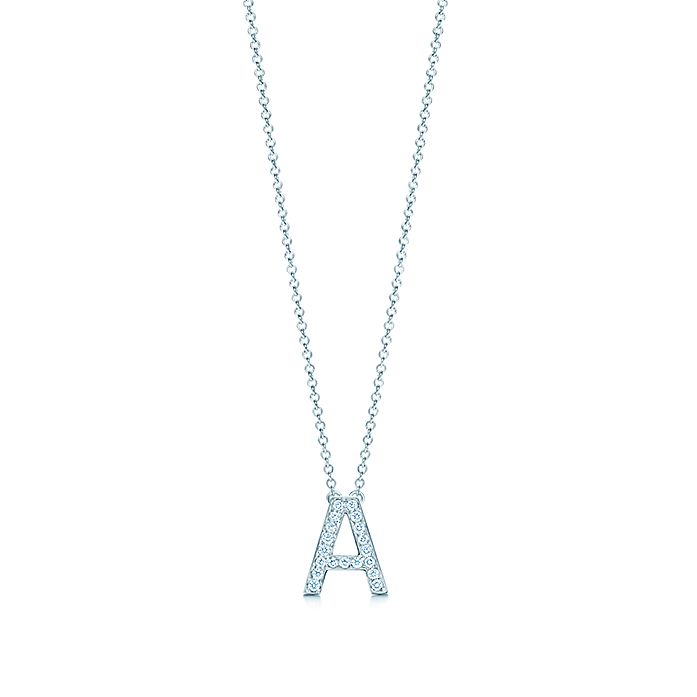 Tiffany Letters pendant of diamonds in platinum, mini. Letters A Z