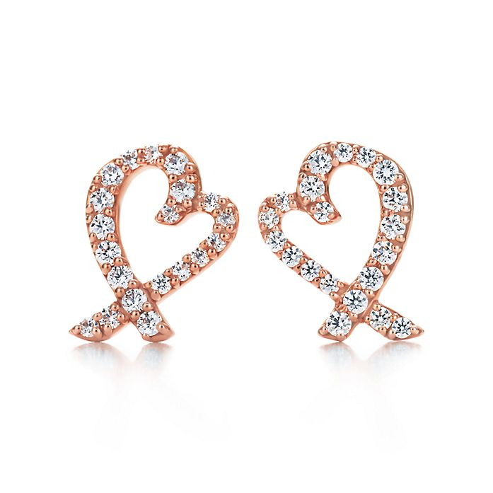 c771a1a63 Paloma Picasso® Loving Heart earrings in 18k rose gold with diamonds ...