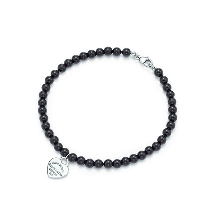 e42d28088111a8 Shop Black Onyx and Sterling Silver Heart Tag Bracelet | Tiffany & Co.