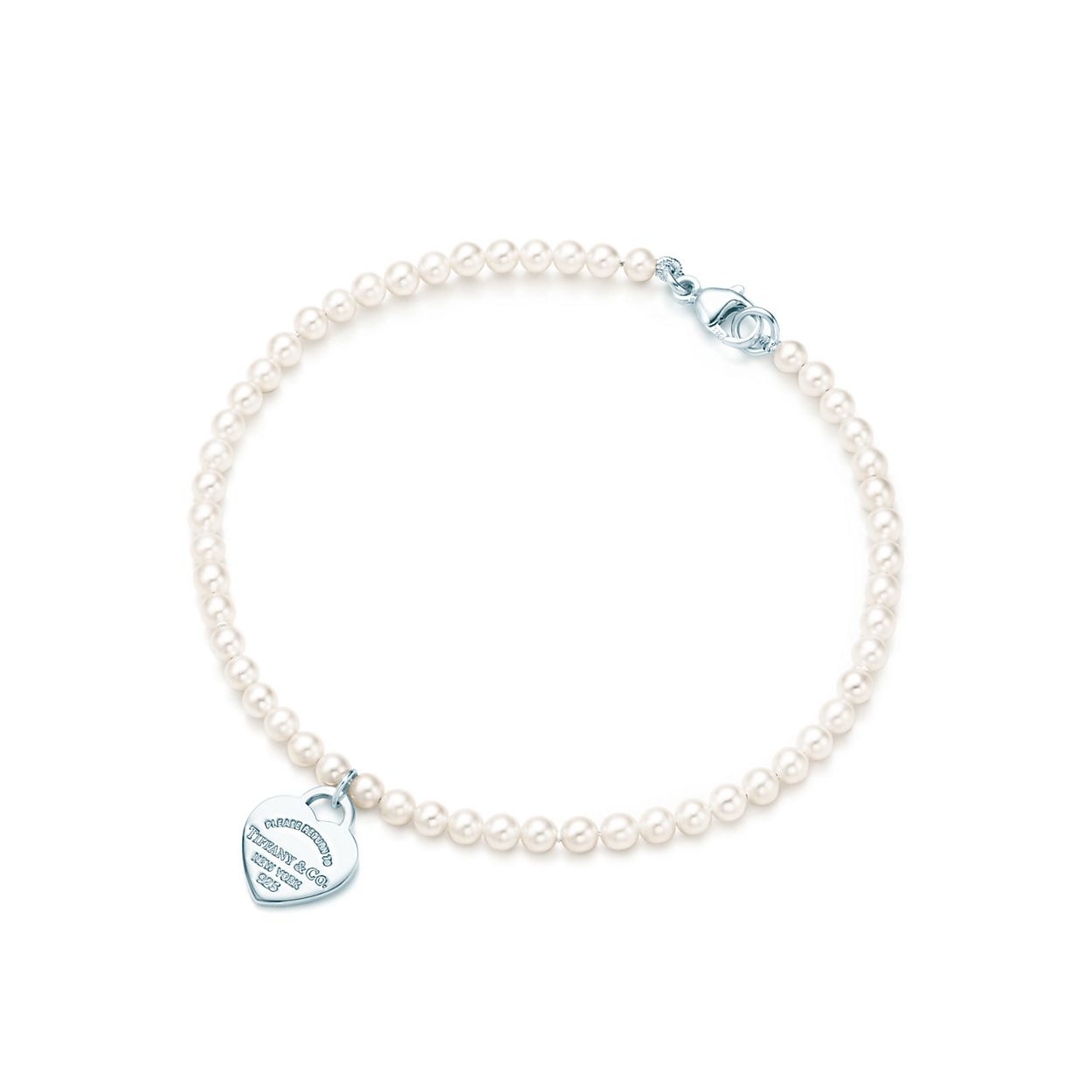 Return to Tiffany mini heart tag in sterling silver on a bead bracelet - Size 7 in Tiffany & Co. rp4y5fVK