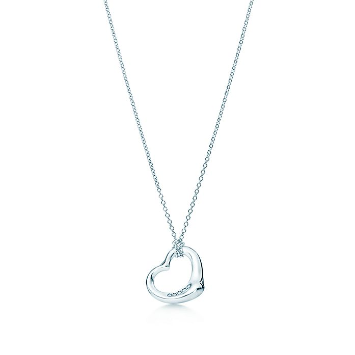 c430d10eb Elsa Peretti® Open Heart pendant in sterling silver with diamonds ...