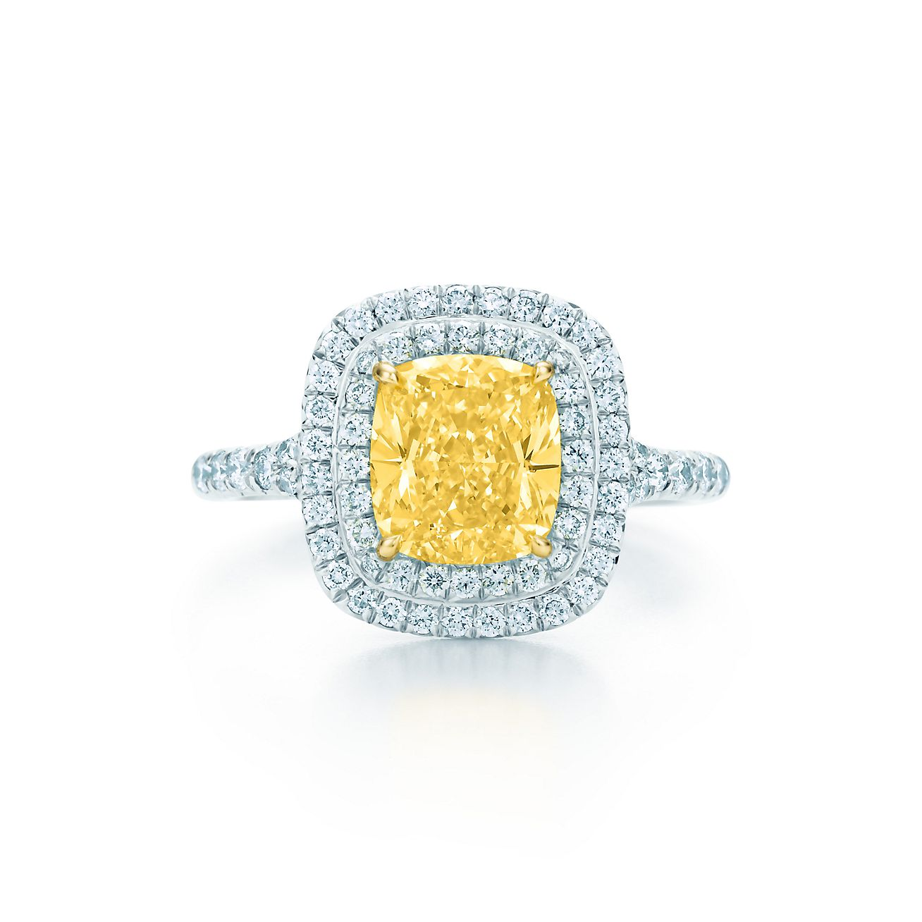 stone ring radiant htm cut carat canary diamond platinum p