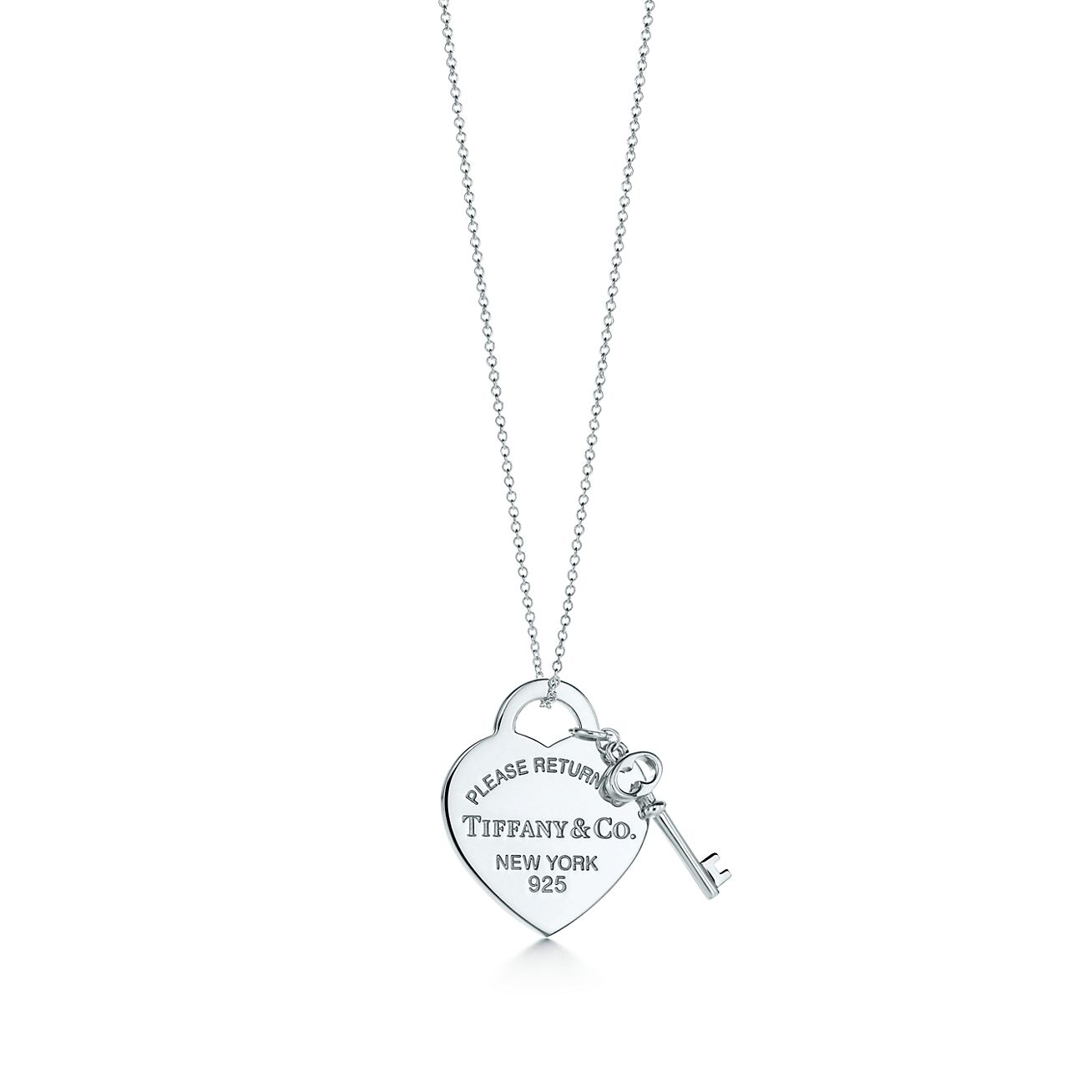 Return to Tiffany® medium heart tag with key pendant in sterling ... 773437578a98