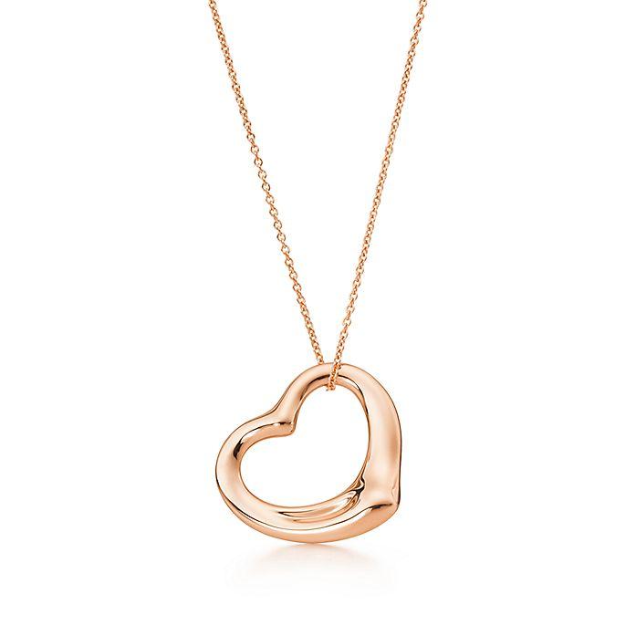 e5ffe7f59 Elsa Peretti® open heart pendant in 18k rose gold, 22 mm. | Tiffany ...