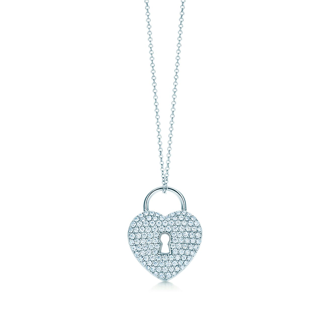 Tiffany locks heart lock pendant in platinum with diamonds on an 18 tiffany locksheart lock pendant aloadofball Choice Image