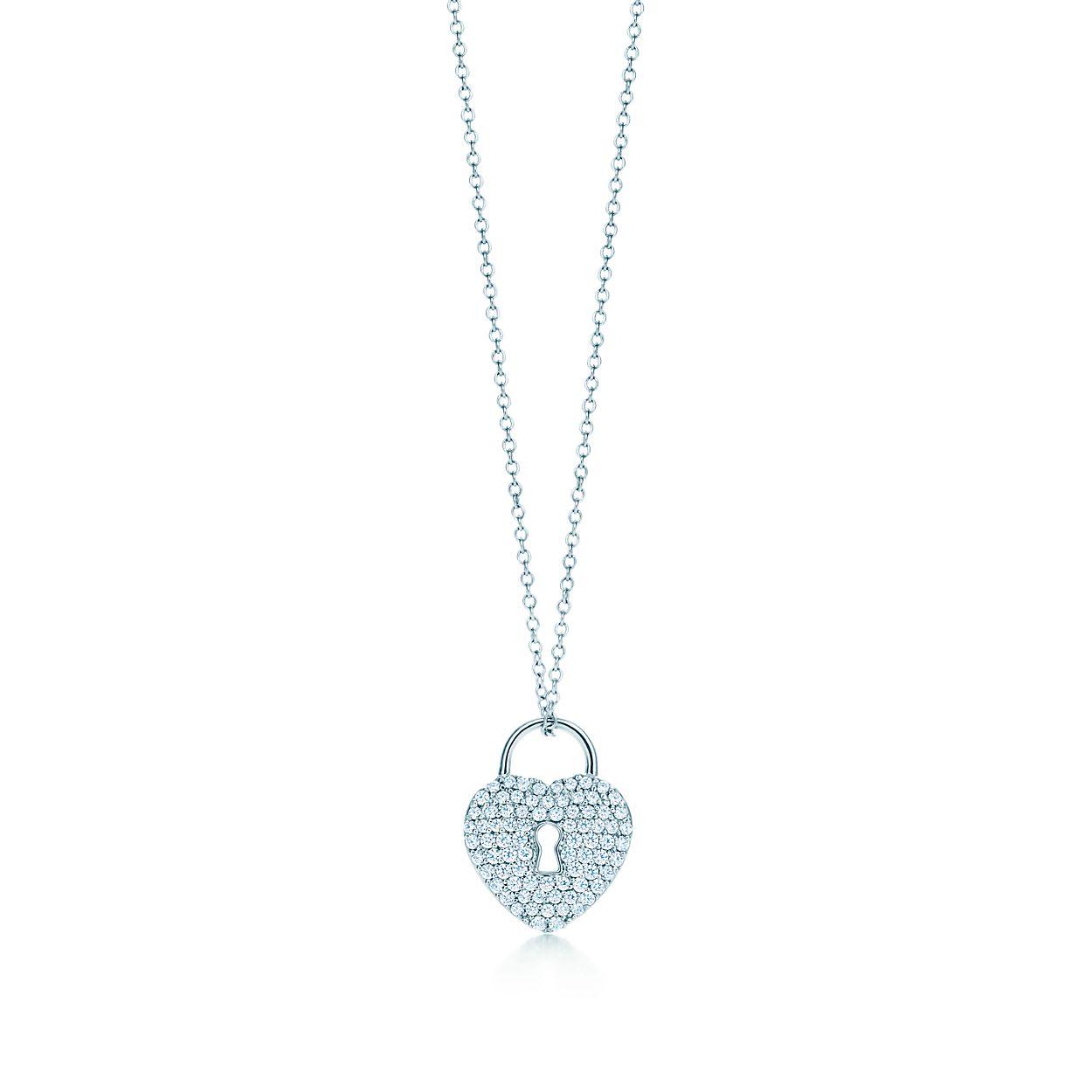 Tiffany locks heart lock pendant in platinum with diamonds on a 16 tiffany locksheart lock pendant tiffany locksheart lock pendant aloadofball Choice Image