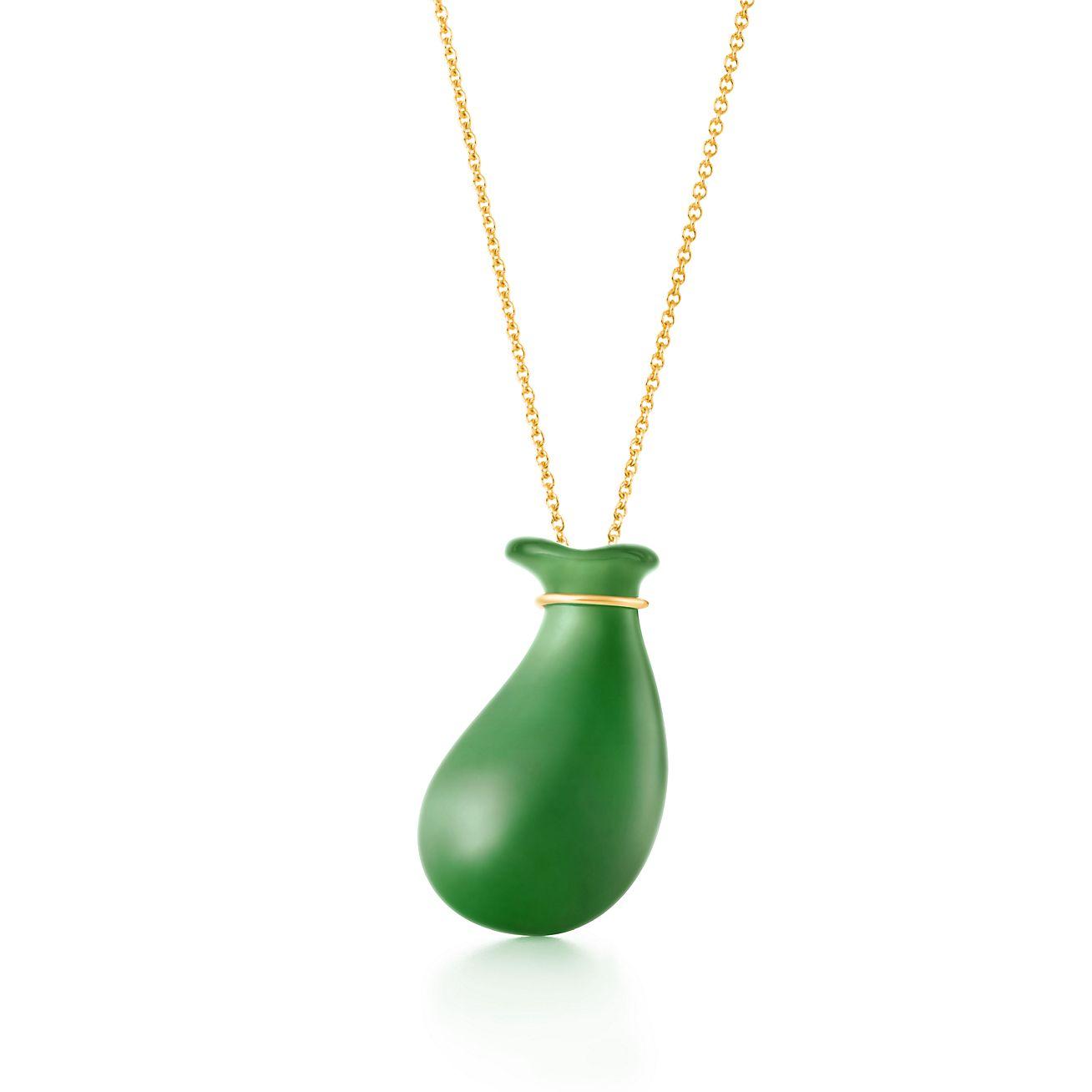 Elsa Peretti Bean earrings in 18k gold and green jade Tiffany & Co.