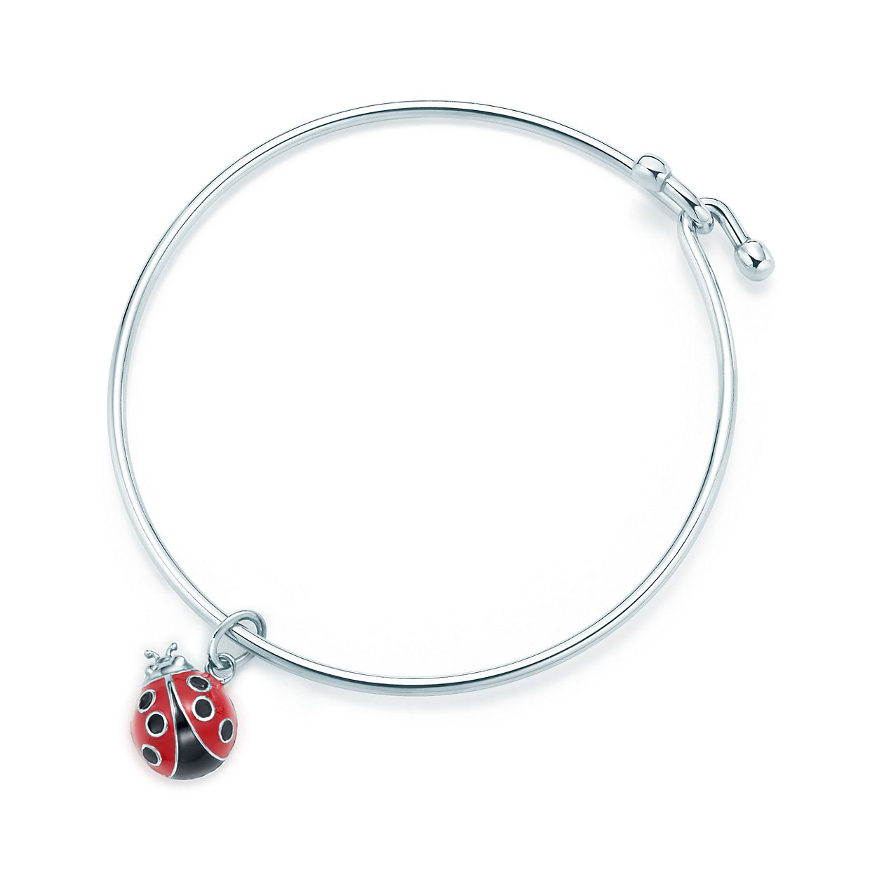Ladybug charm in sterling silver with enamel finish on a wire ...